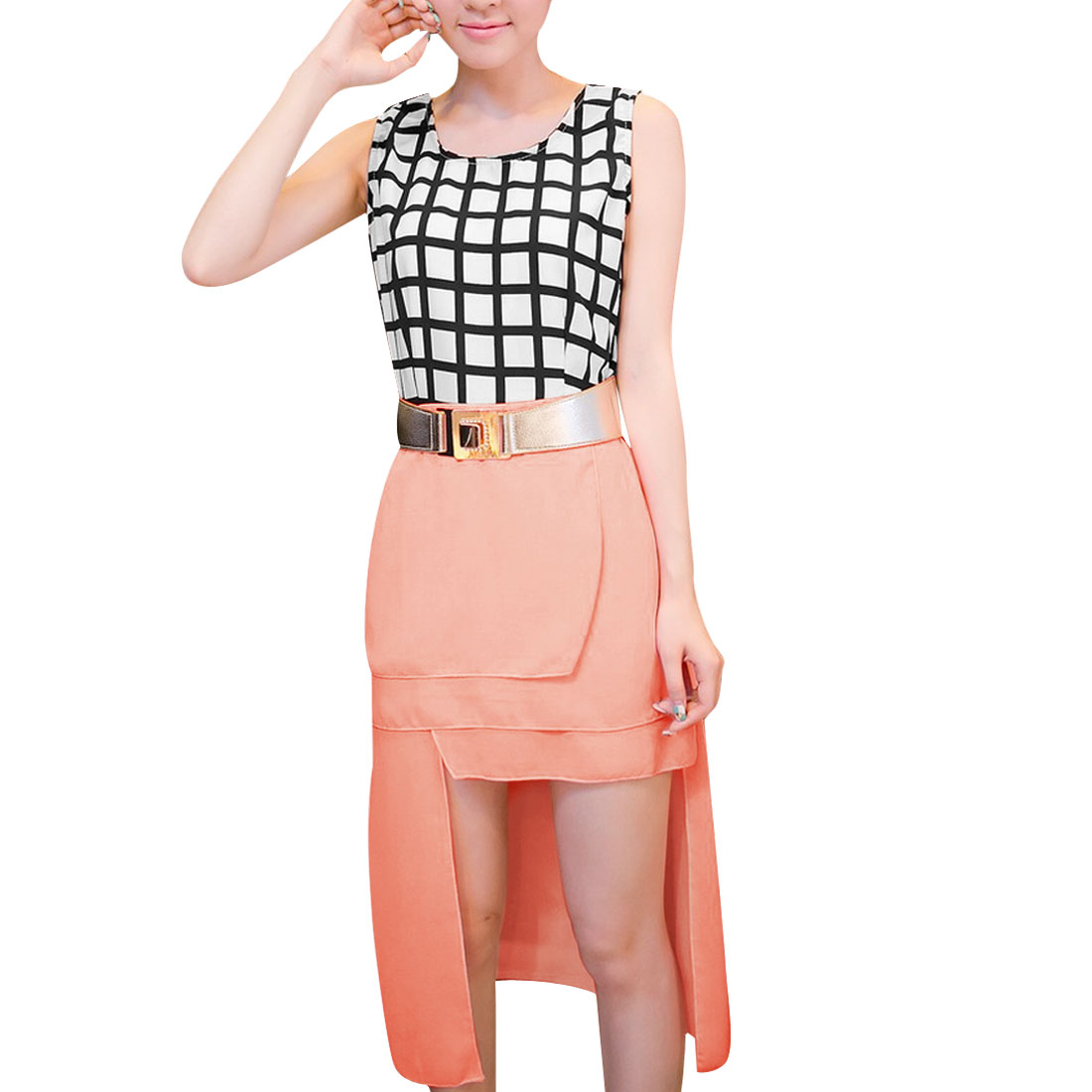 Lady Pink Asymmetrical Hem W Elastic Waist Belt Panel Dress XS