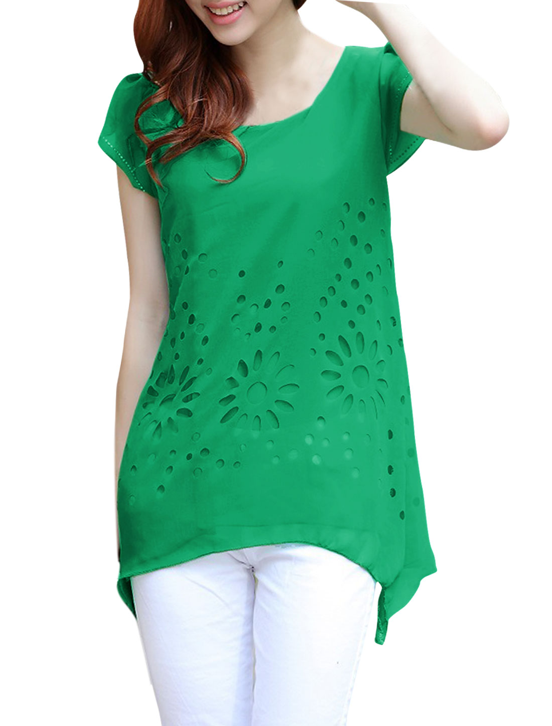 Ladies Round Neck Pullover Cap Sleeve Hollow Out Top Shirt Green S