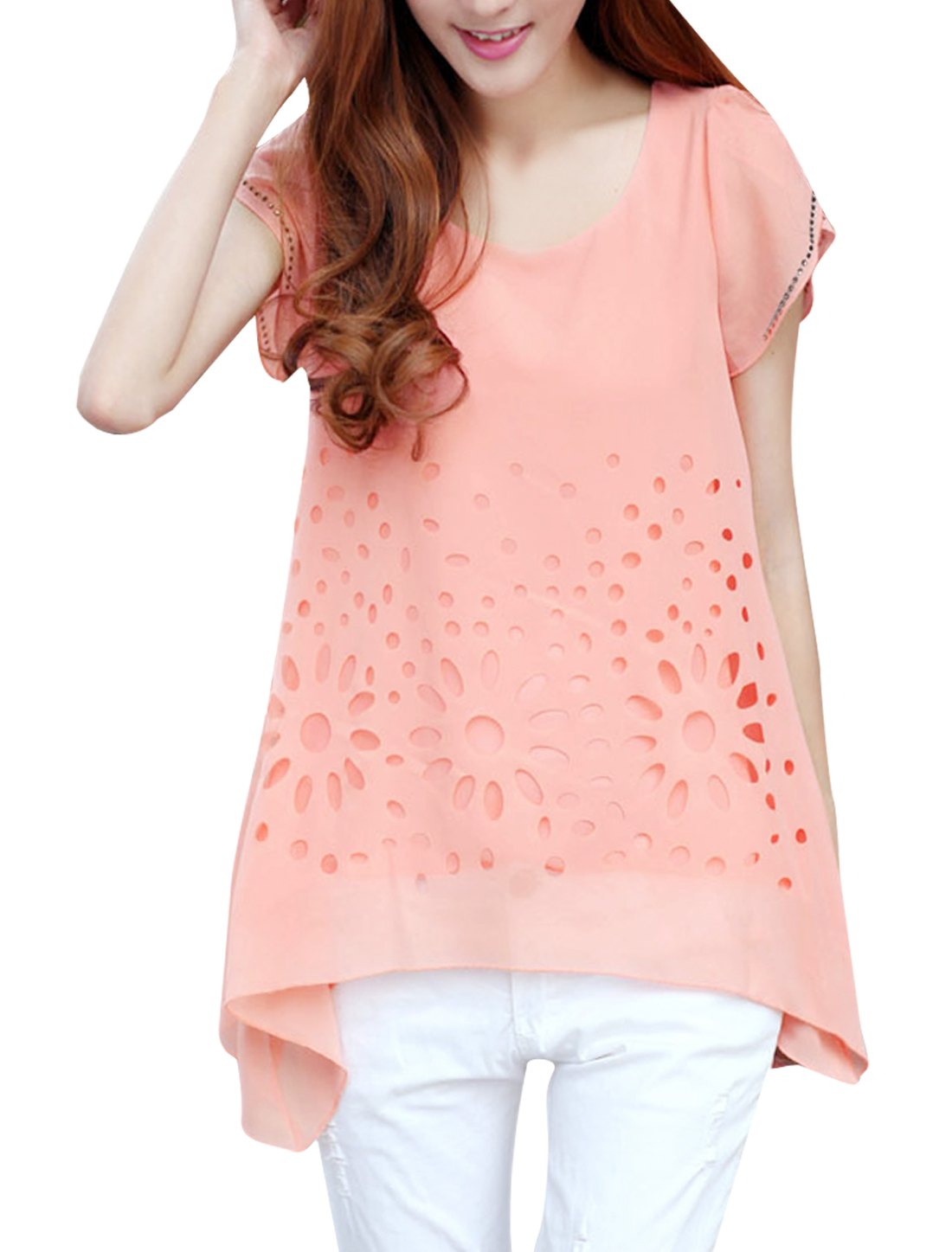 Ladies Round Neck Cap Sleeve Rhinestone Decor Top Shirt Pink S