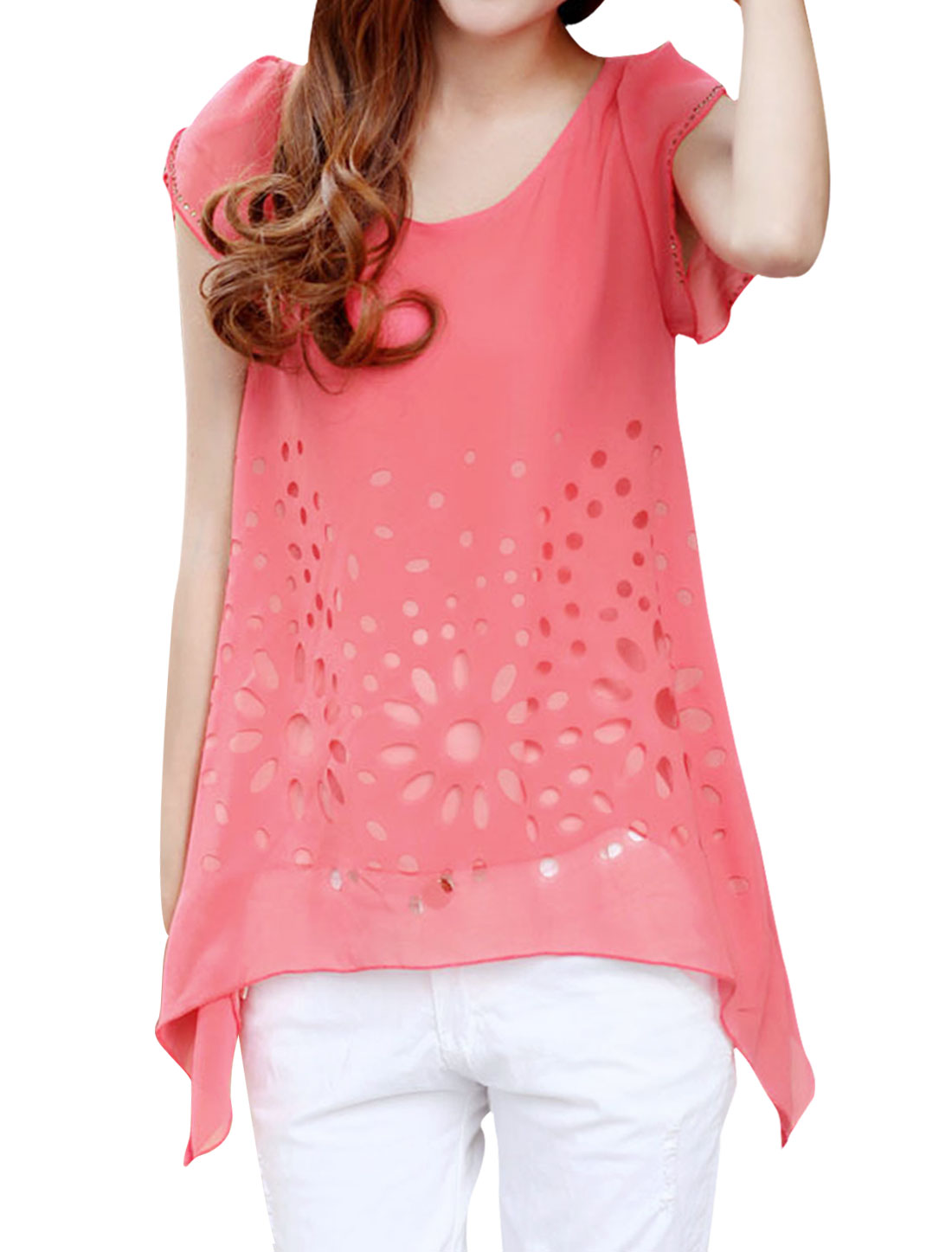 Ladies Round Neck Pullover Cap Sleeve Semi Sheer Top Shirt Watermelon Red S