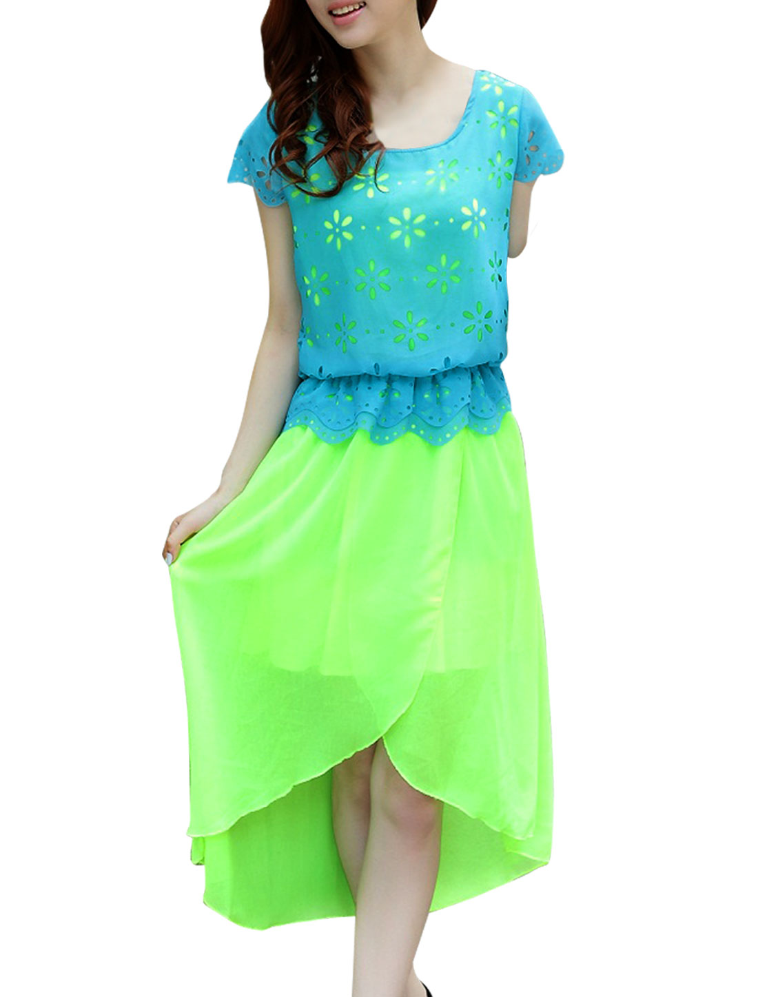Ladies Round Neck Pullover Low High Dress Lime Turquoise S