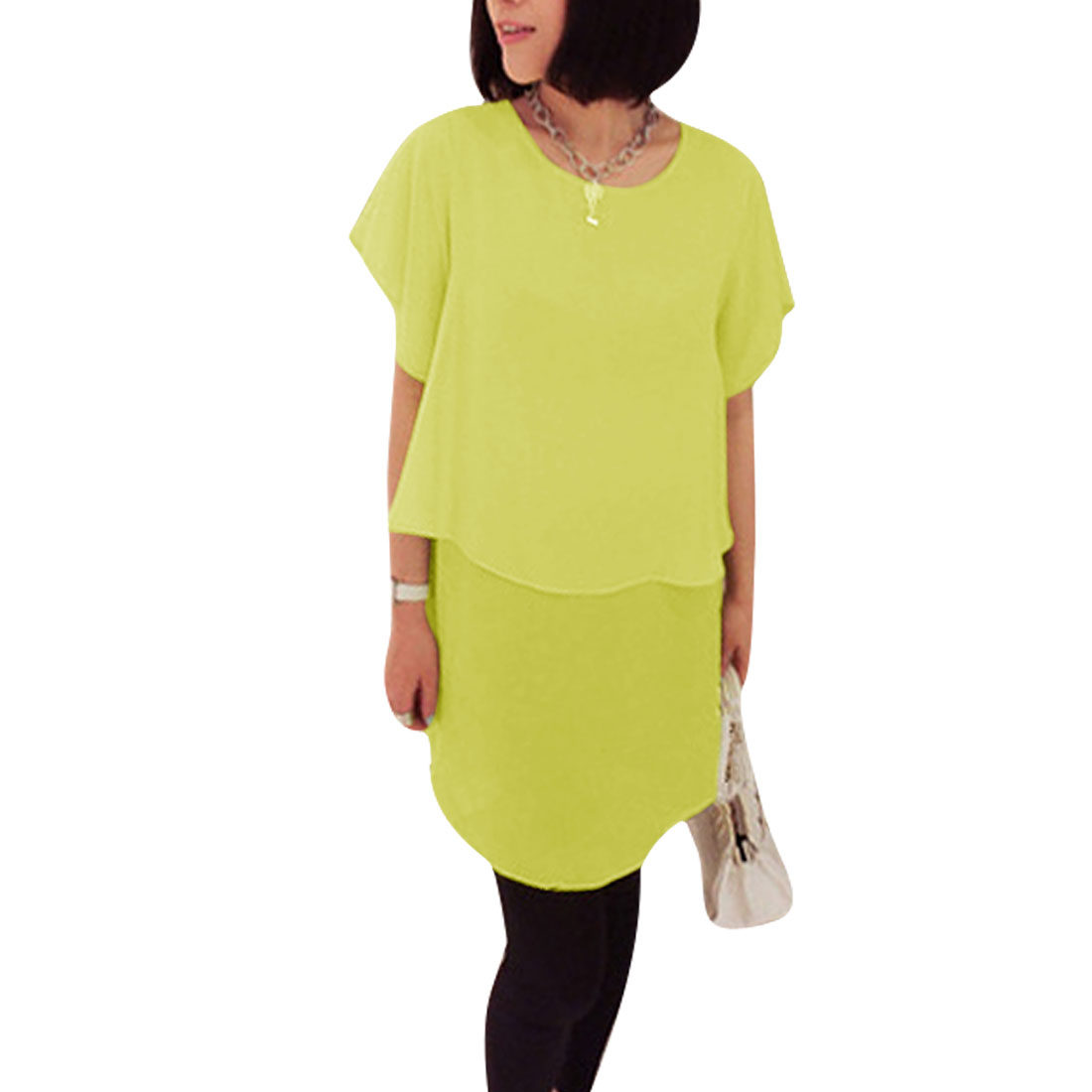 Ladies Round Neck Pullover Short Sleeve Panel Dress Lime XS