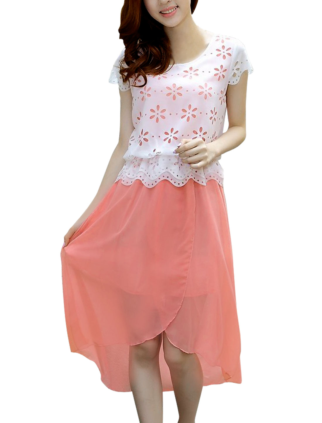 Ladies Round Neck Cap Sleeve Elastic Waist Dress Pink White S