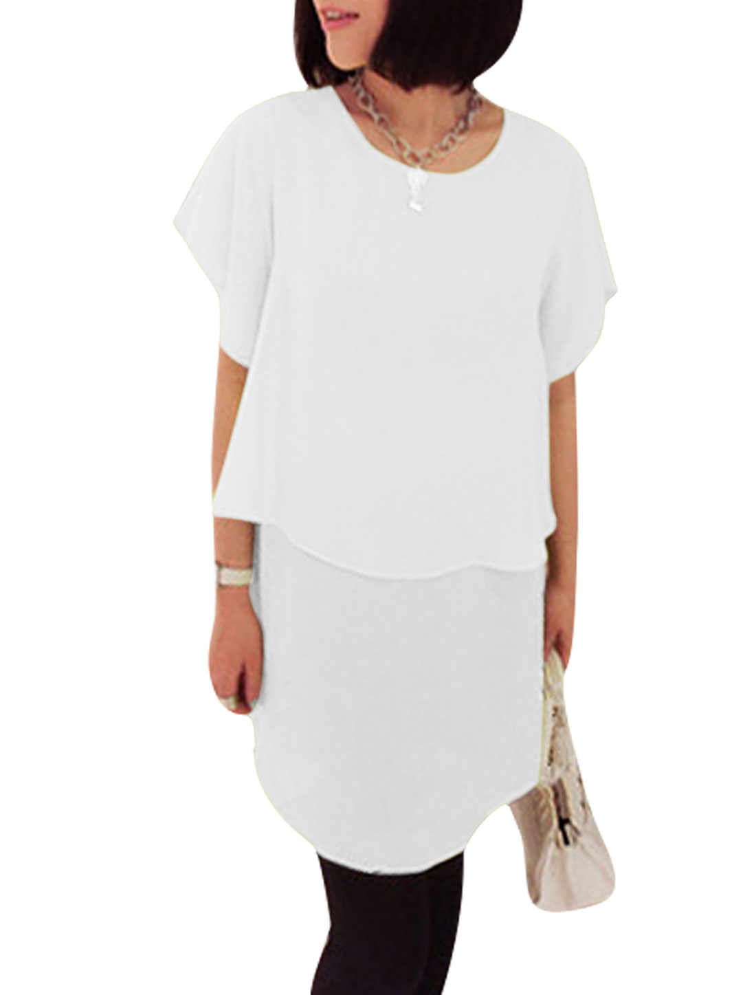 Ladies Round Neck Pullover Short Sleeve Tiered Dress White XS