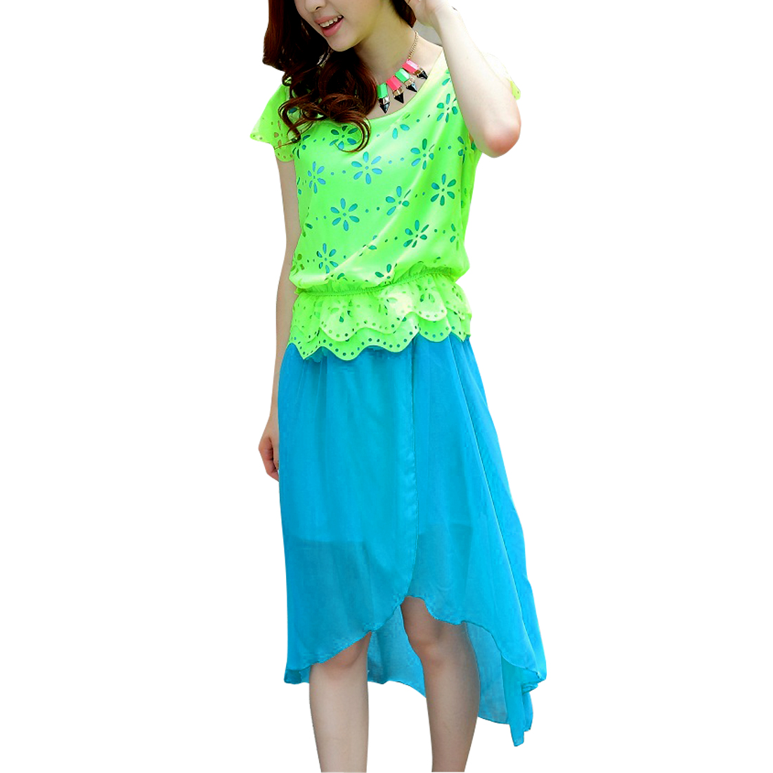 Ladies Pullover Cap Sleeve Hollow Out Dress Turquoise Lime S