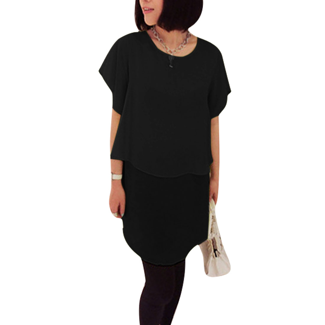 Ladies Round Neck Pullover Short Sleeve Layered Dress Black XS