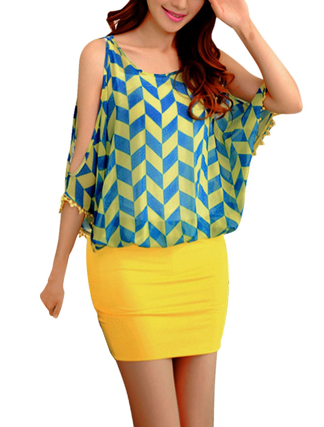 Ladies Stretchy Lining Dolman Sleeve Skinny Color Block Dress Yellow S