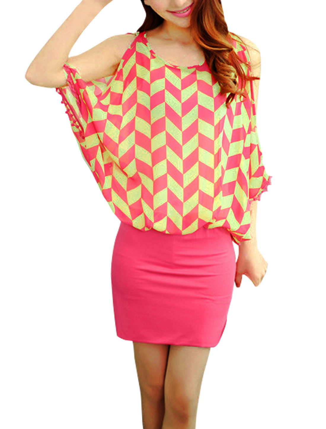 Women Geometric Pattern Round Neck Batwing Sleeve Slim Fit Dress Deep Pink S