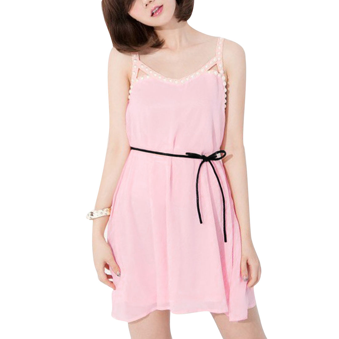 Ladies Round Neck Pullover Sleeveless Spaghetti Strap Dress Pink S