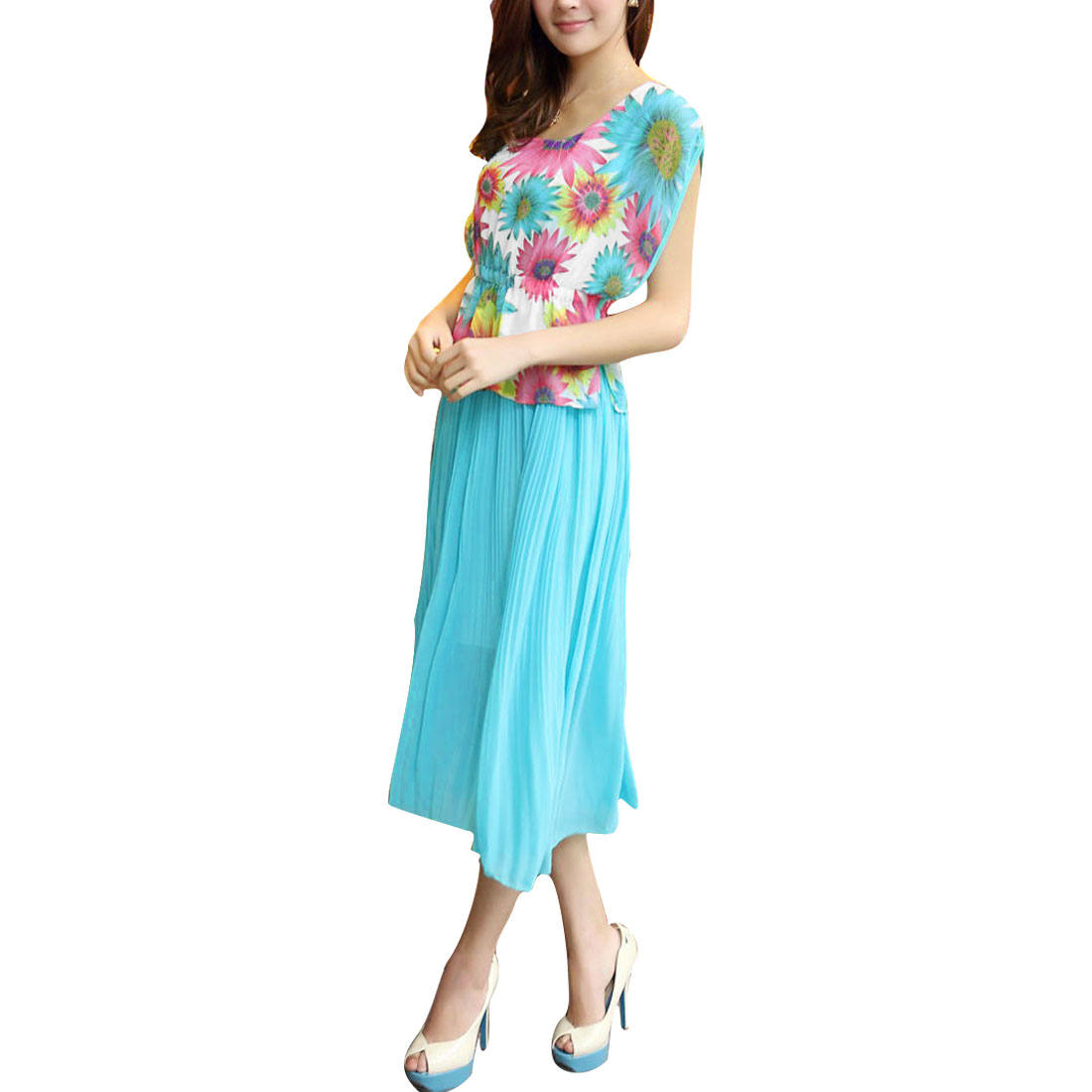8203 Lady Blue Round Neck Flower Design Layered Design Dress XS