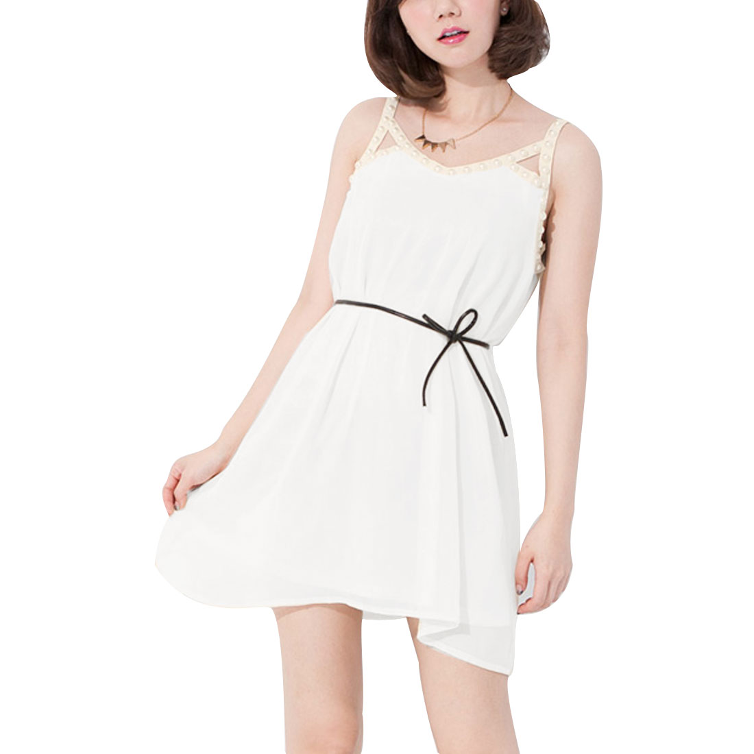 Ladies Round Neck Pullover Sleeveless Belted Dress Off White S