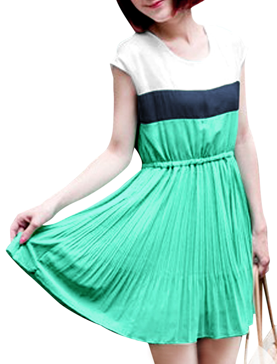 Ladies Three-Tone Light Green White Contrast Color Pleated Mini Dress S