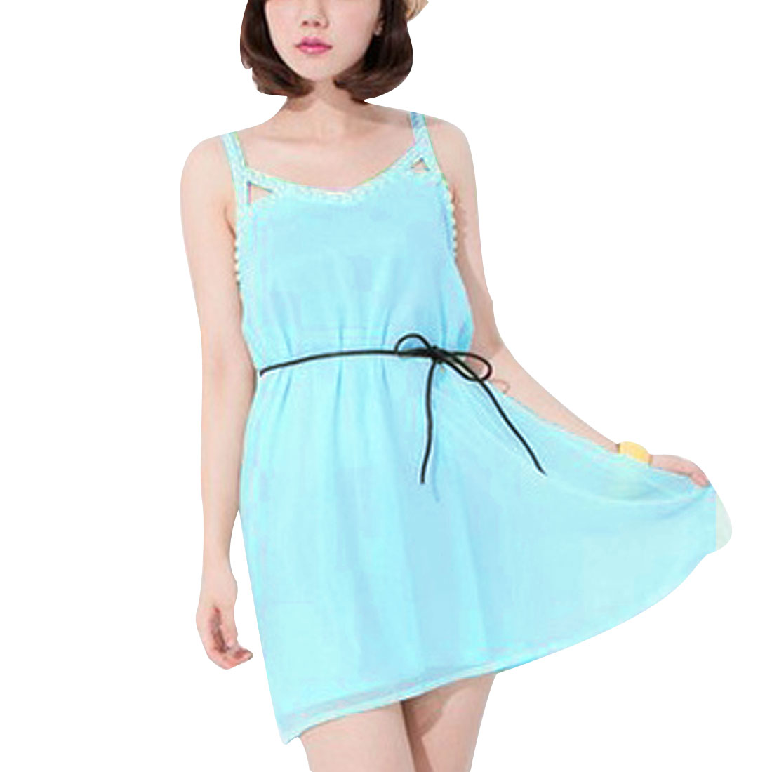 Ladies Round Neck Pullover Sleeveless Semi Sheer Dress Baby Blue S