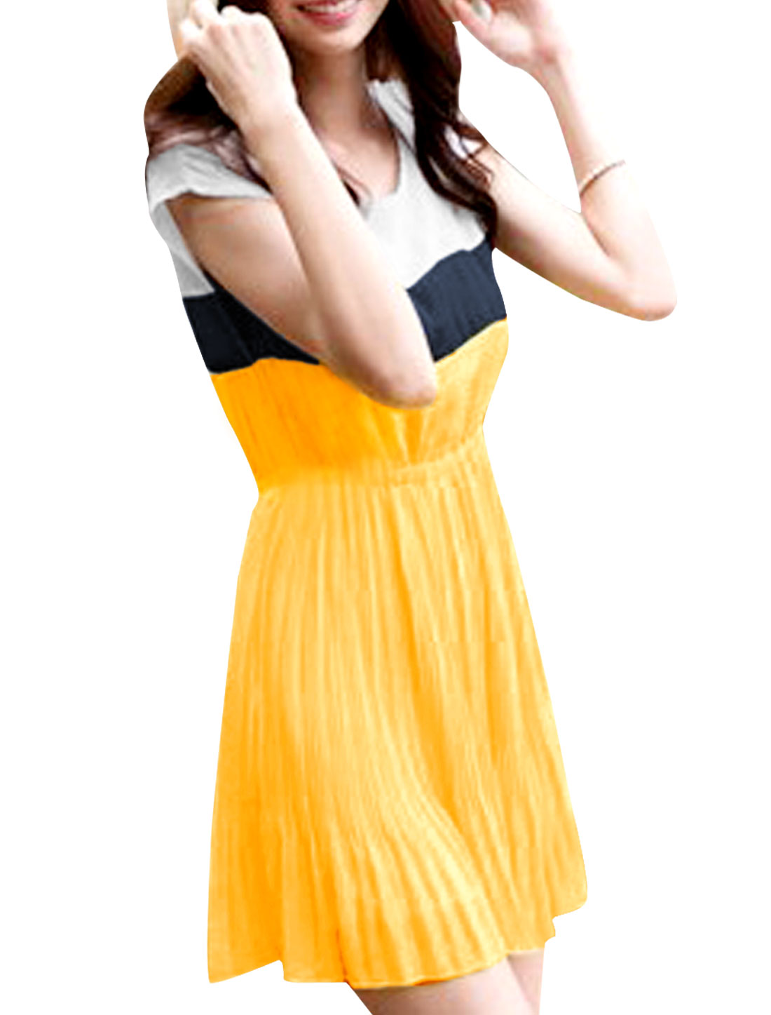 Woman Round Neck Cap Sleeve Contrast Color Splice Light Yellow White Mini Dress S