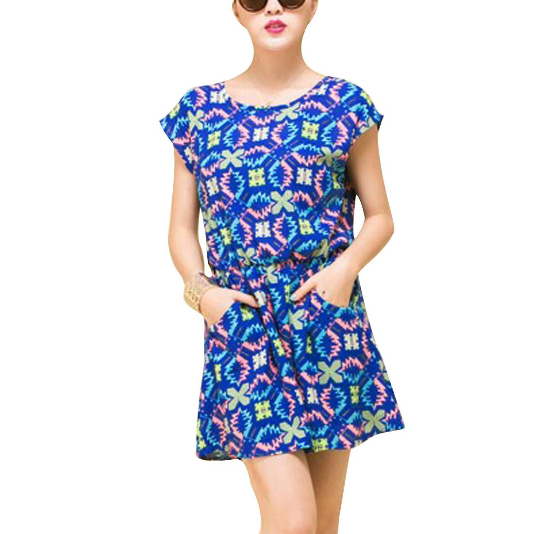 Woman Round Neck Short Dolman Sleeve Geometric Pattern Royalblue Mini Dress S