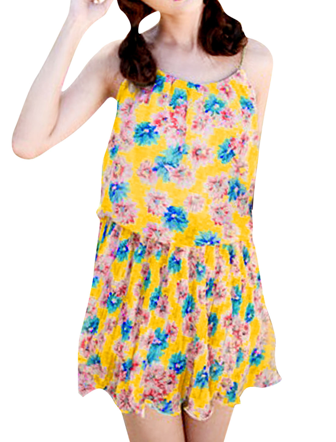Lady Yellow Strap Spaghetti Pullover Flower Design Casual Dress XS