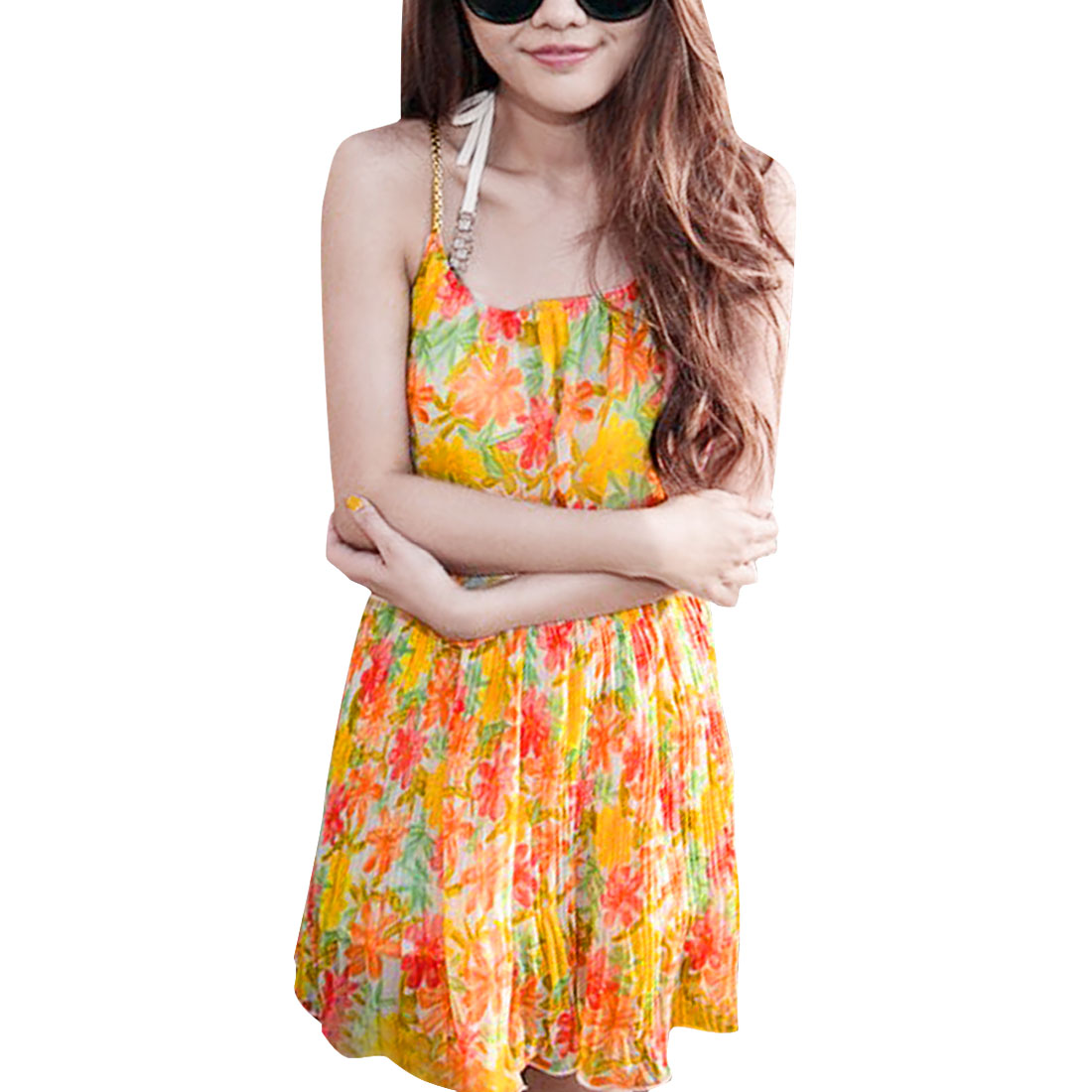 Lady Orange Yellow Elastic Waist Floral Design Spaghetti Strap Dress XS