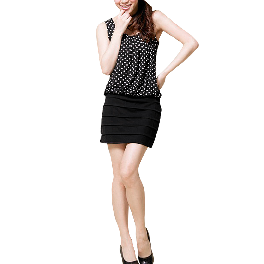 Lady U Neck Dots Prints Slim Fit Shutter Pleat Black Dress XS