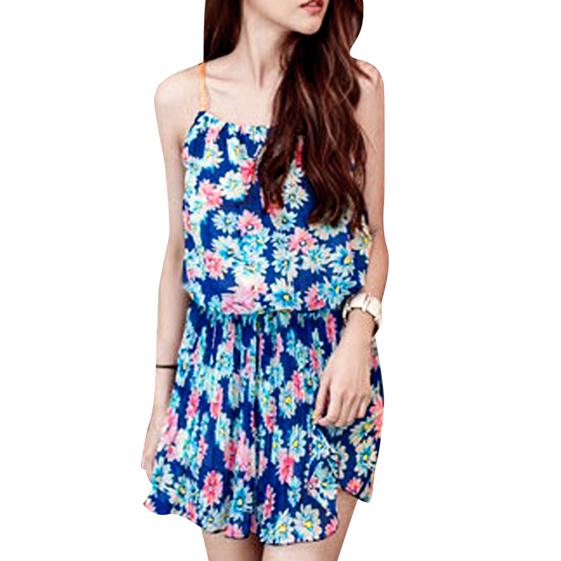 Lady Blue Flower Design Weaved Strap Chiffon Dress XS