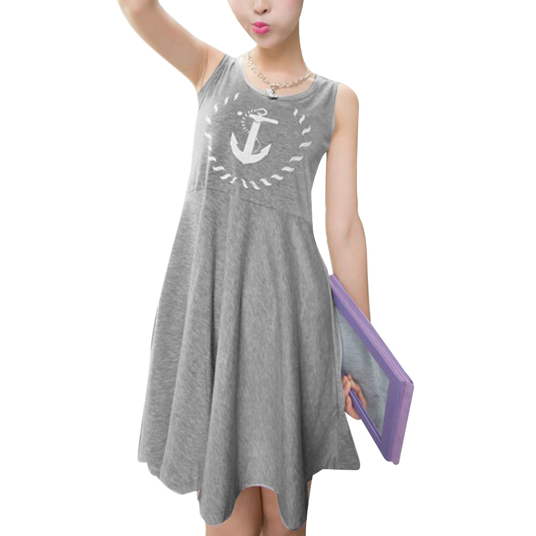 Ladies Anchor Mark Design Elegant Chic Splice Dress Light Gray XS