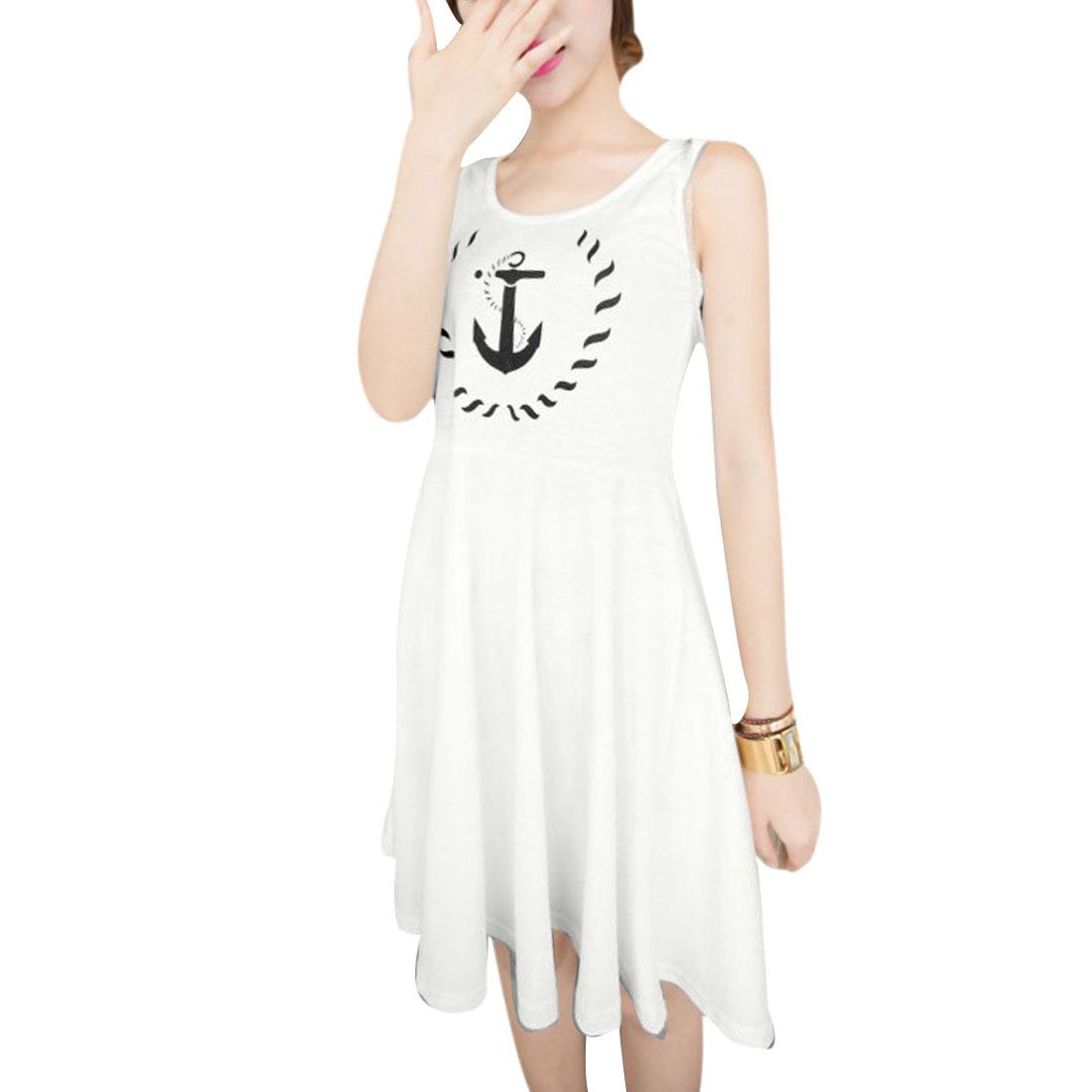 Women Above Knee Anchor Mark Prints Fashional Dress White XS