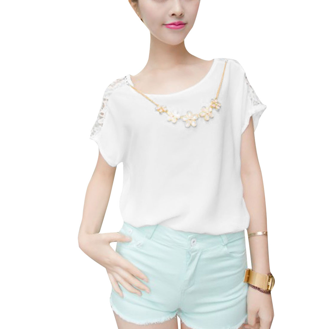 Ladies Round Neck Pullover Crochet Detail Top Shirt White S