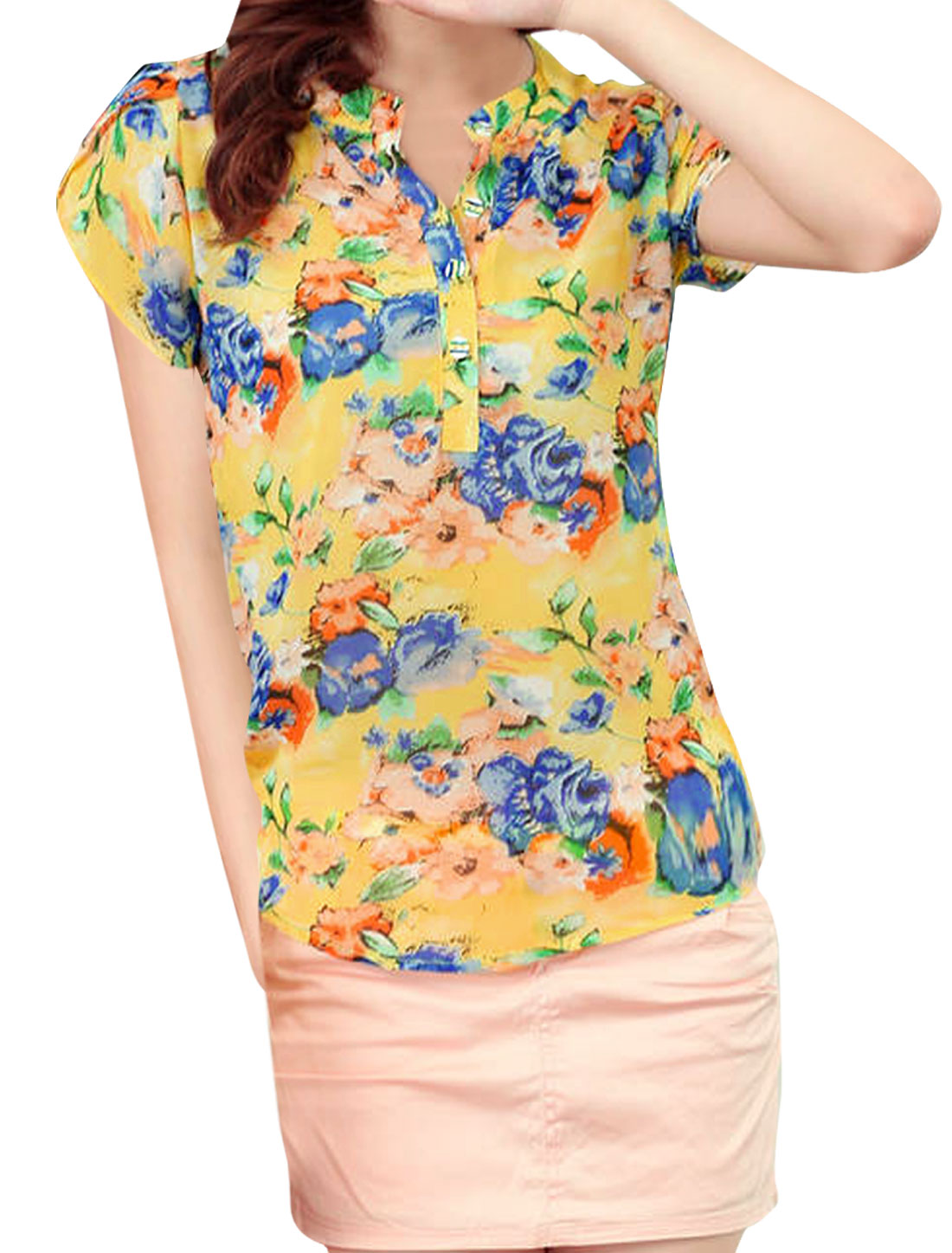Yellow S Cap Sleeve Semi Sheer Design Women Chiffon Blouse