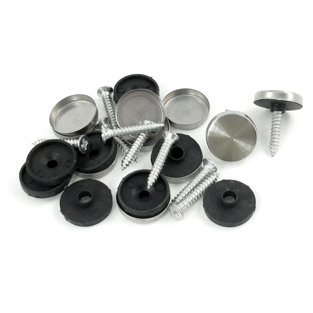 Tea Table Mirror 18mm Dia Cap Silver Tone Black Screw Nails 10 Pcs