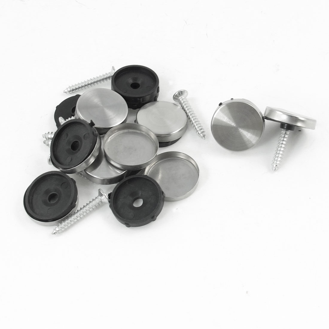 10 Pcs 20mm Dia Stainless Steel Mirror Nails Fittings Silver Tone Black