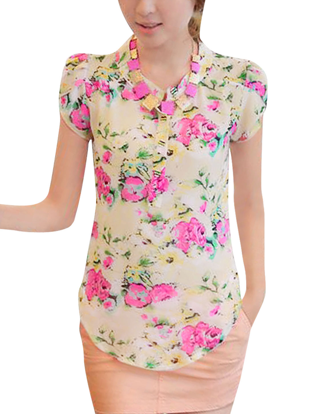 Women Cap Sleeve Style Stand Collar Floral Pattern Summer Blouse Beige S