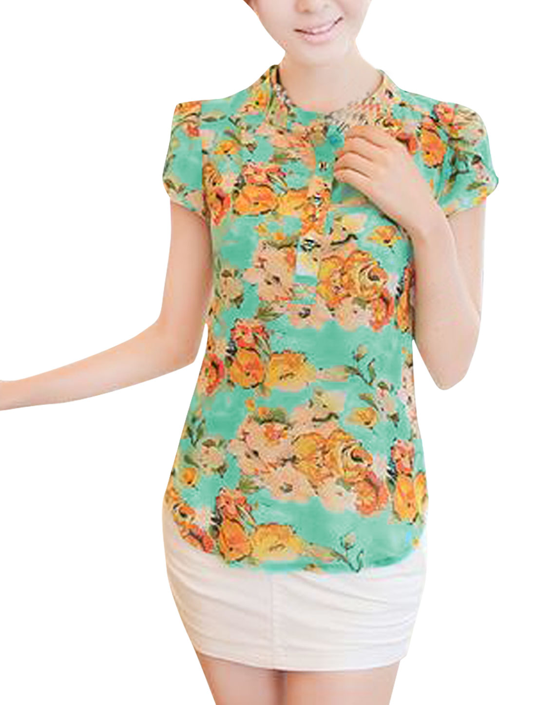 Ladies Floral Pattern Semi Sheer Cap Sleeve Button Up Blouse Mint S