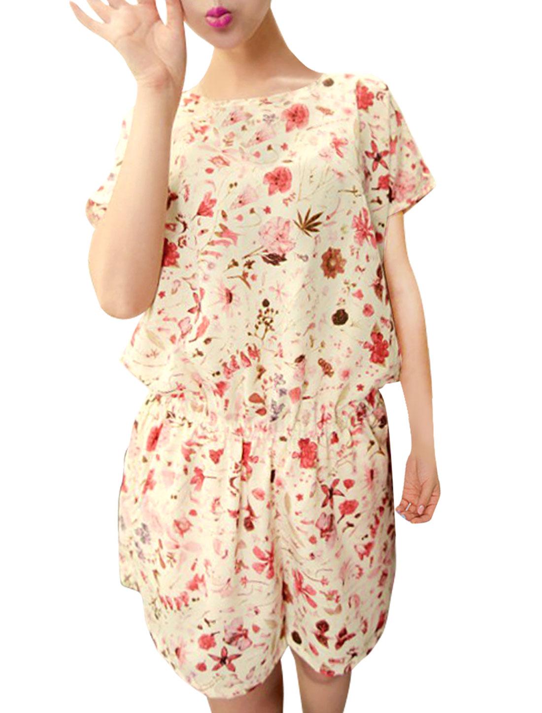 Women Dolman Sleeve Round Neck Floral Pattern Elastic Waist Romper Beige L