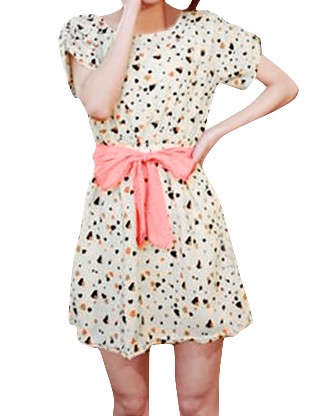 Lady Apricot Heart Prints Elastic Waist W Waist Belt Pullover Dress S