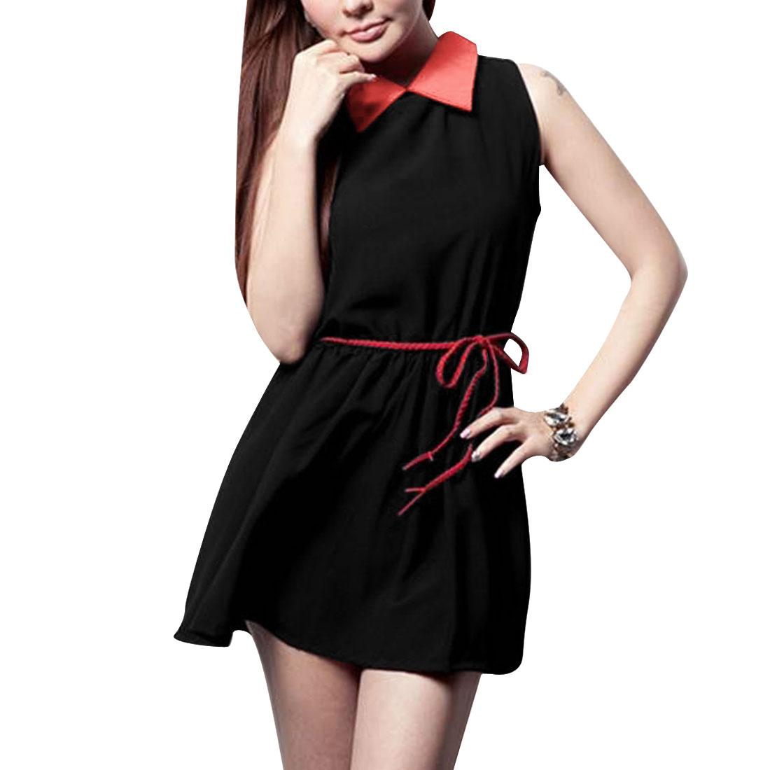 Women New Fashion Doll Collar Design Contrast Color Black Mini Dress S