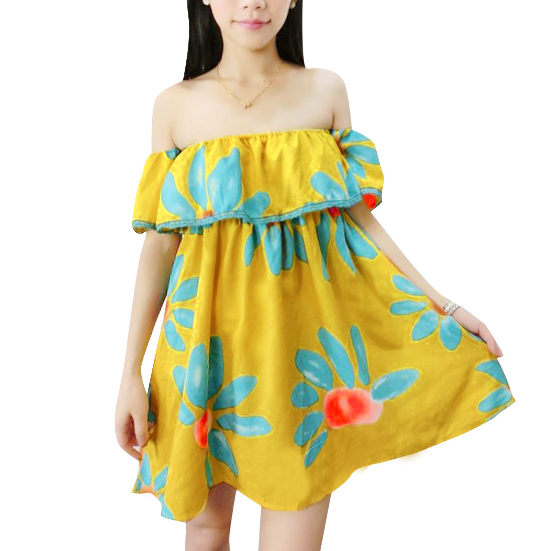 Woman Chic Off Shoulder Design Flower Pattern Elastic Upper Yellow Tunic Tops S