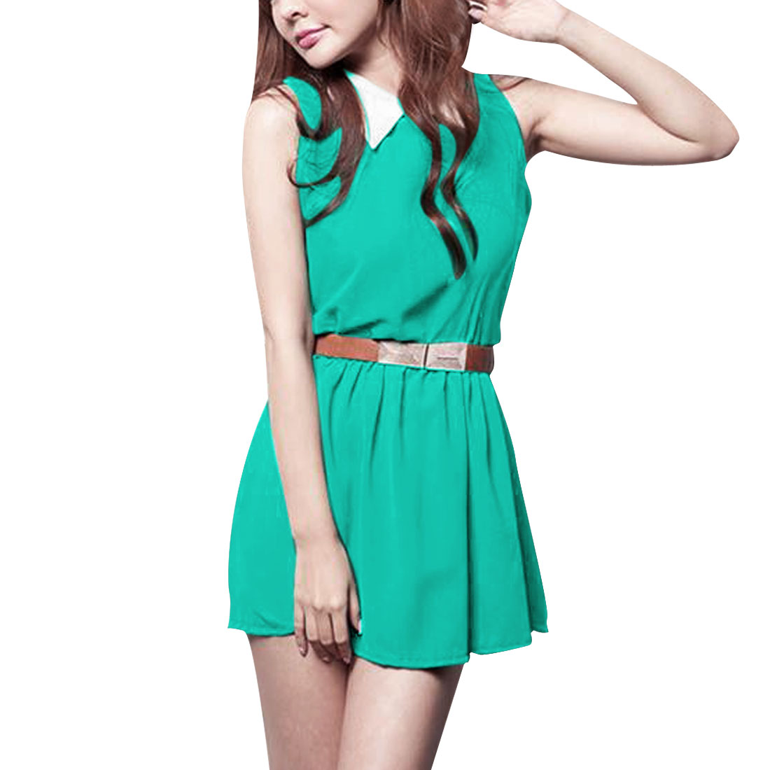 Woman Doll Collar Sleeveless Elastic Waist Aqua Color A-Line Mini Dress S