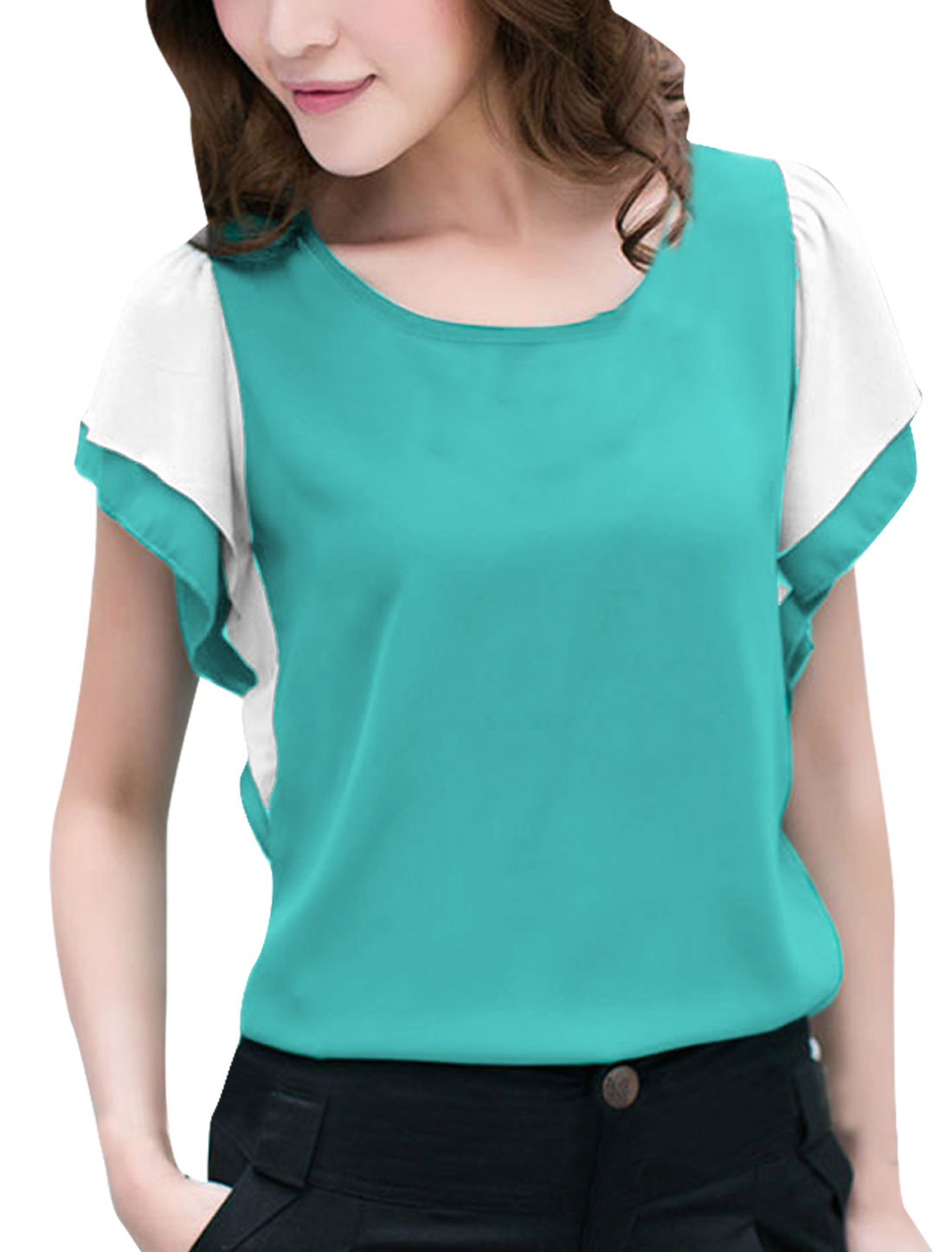 Ladies New Fashion Round Neck Short Tiered Ruffles Sleeve Aqua Color Blouse S