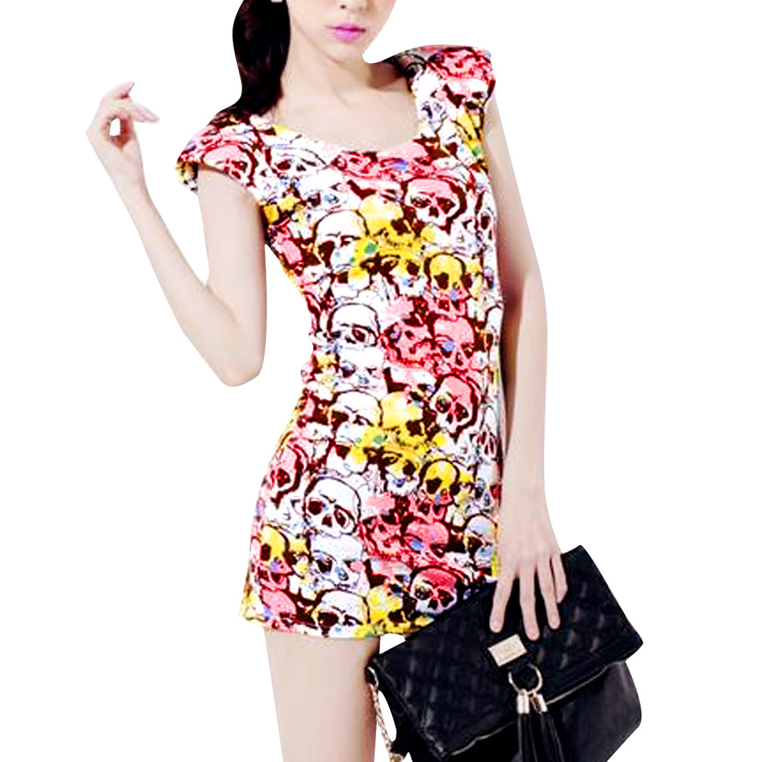 Woman Chic Scoop Neck Pink Yellow Skull Pattern Design Tunic Tank Top S