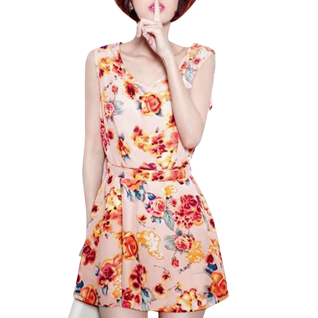 Lady Pink Round Neck Flower Prints Loose Belted Mini Dress XS