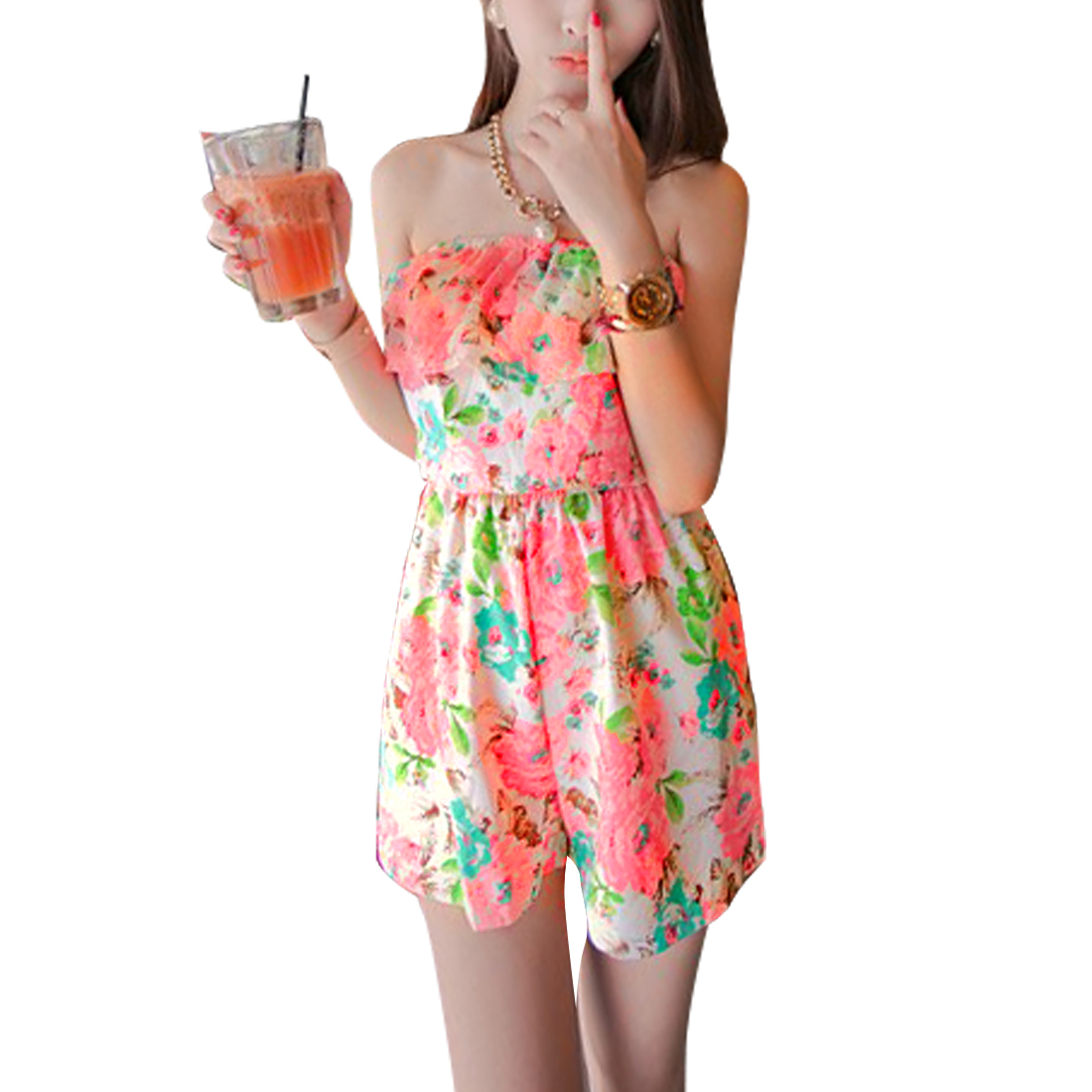 Women Floral Pattern Strapless Off Shoulder Design Summer Romper Pink XS