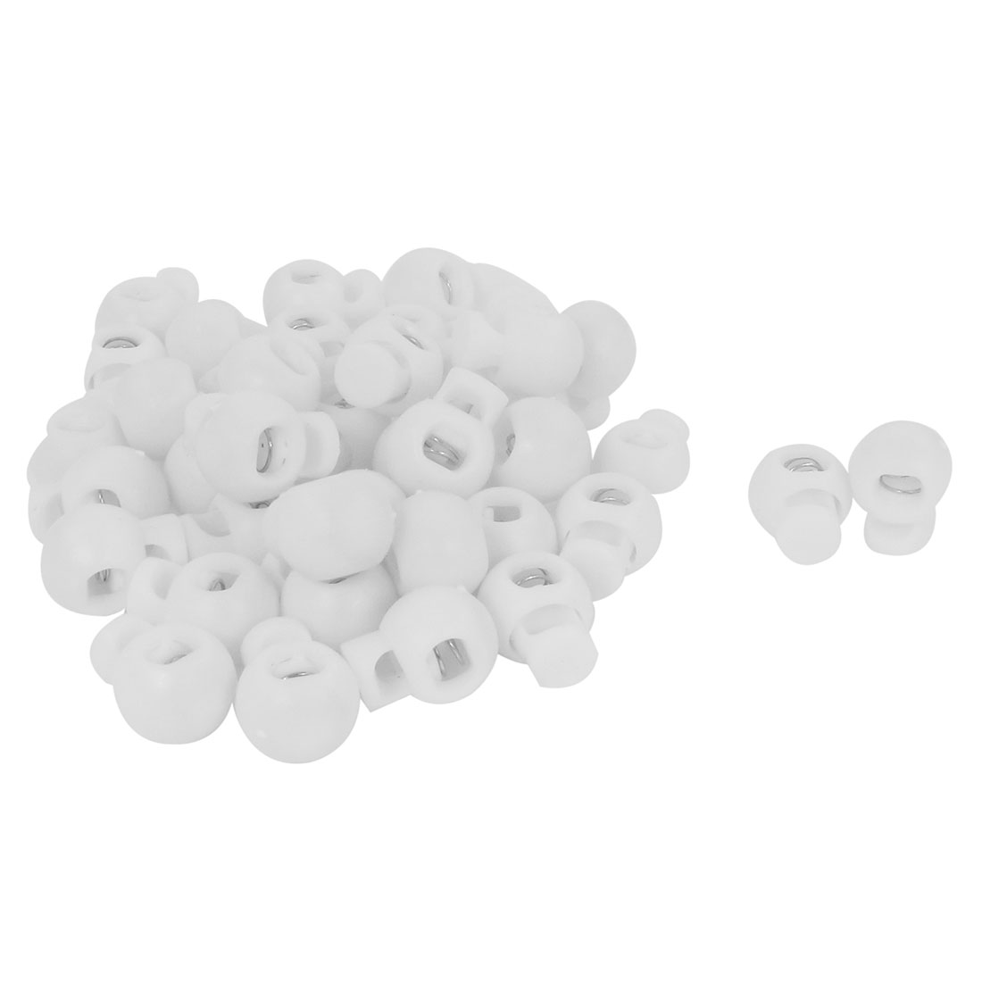 40 Pcs Spring Loaded White Plastic Round Lanyard Cord Locks 5mm Diameter