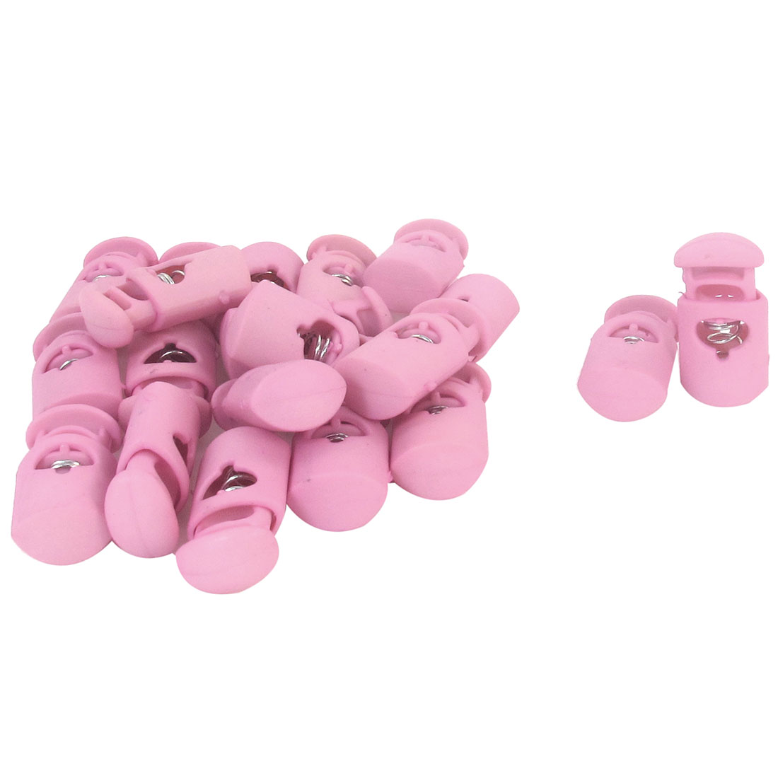 "20 Pcs 1"" Height Backpack Drawstring Rope Cord Locks Ends Pink"