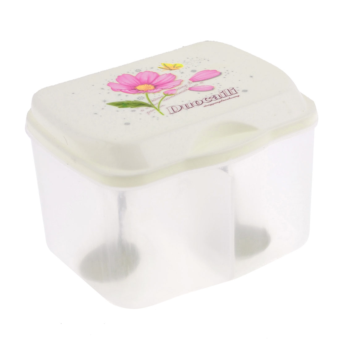 Pink Flower Print 2 Compartments Spices Container Condiment Dispenser Clear Beige