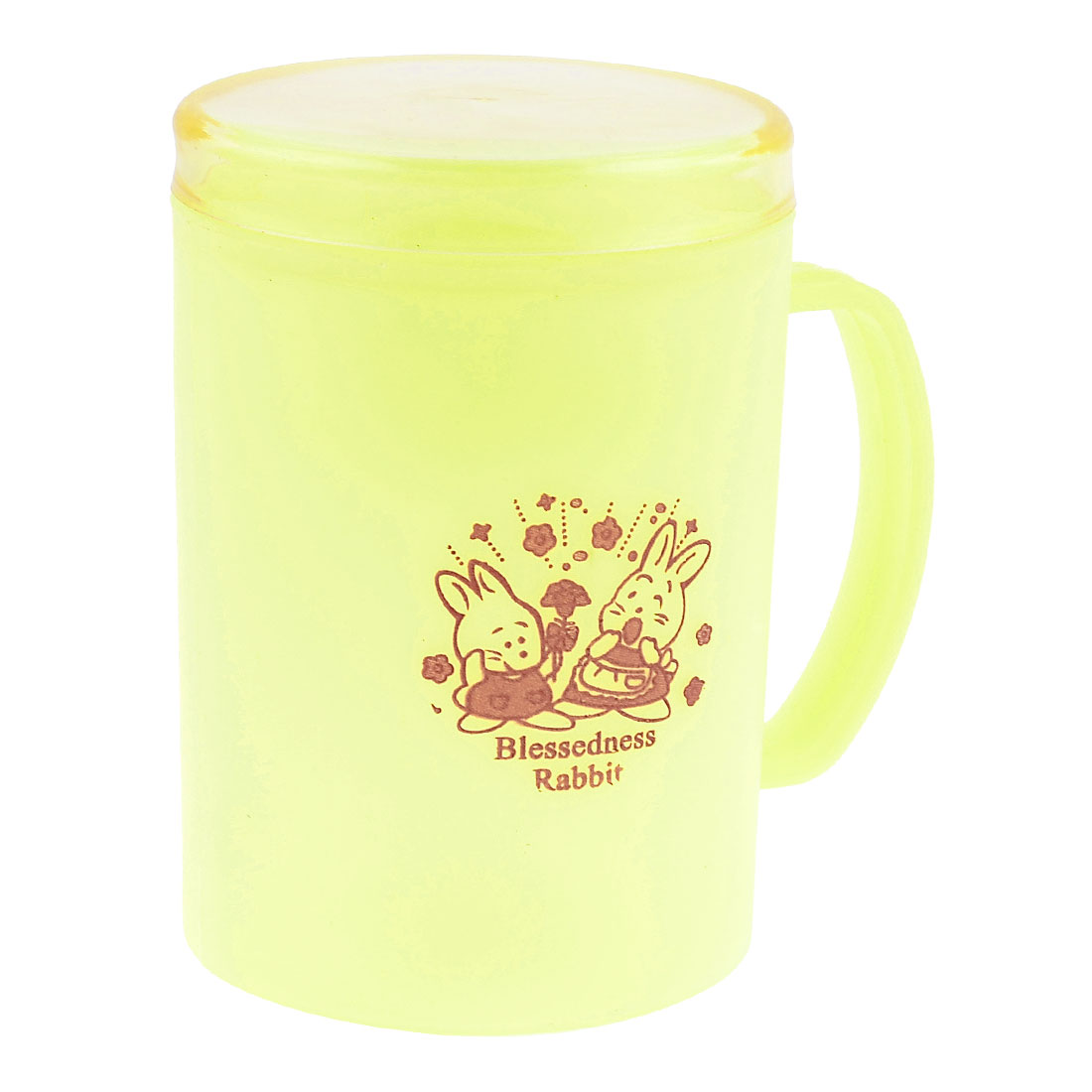 Rabbit Printed Yellow Plastic 445ml Milk Drinking Cup Mug w Lid