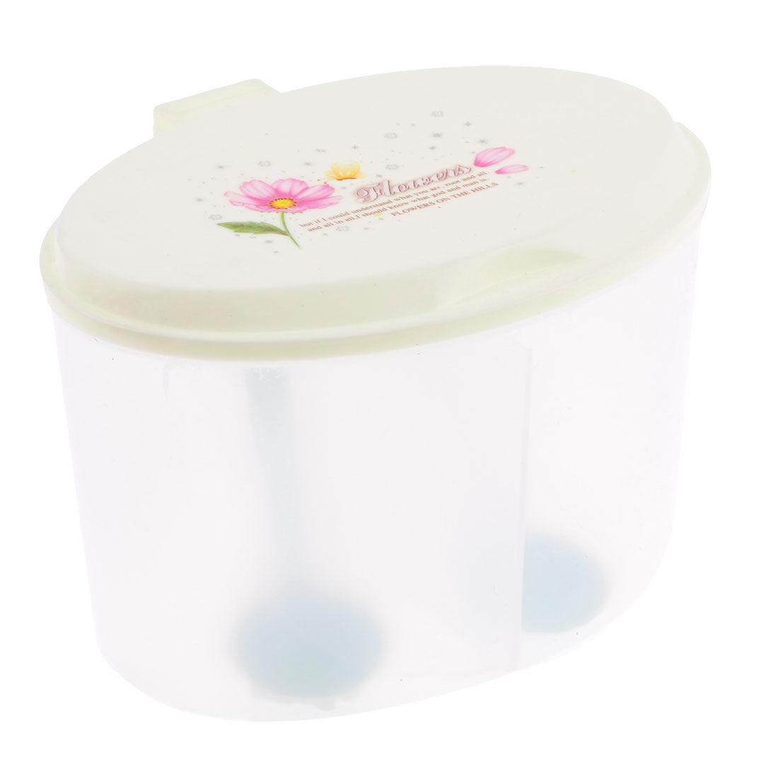 Pink Floral Print 2 Compartments Spices Container Condiment Dispenser Clear Beige