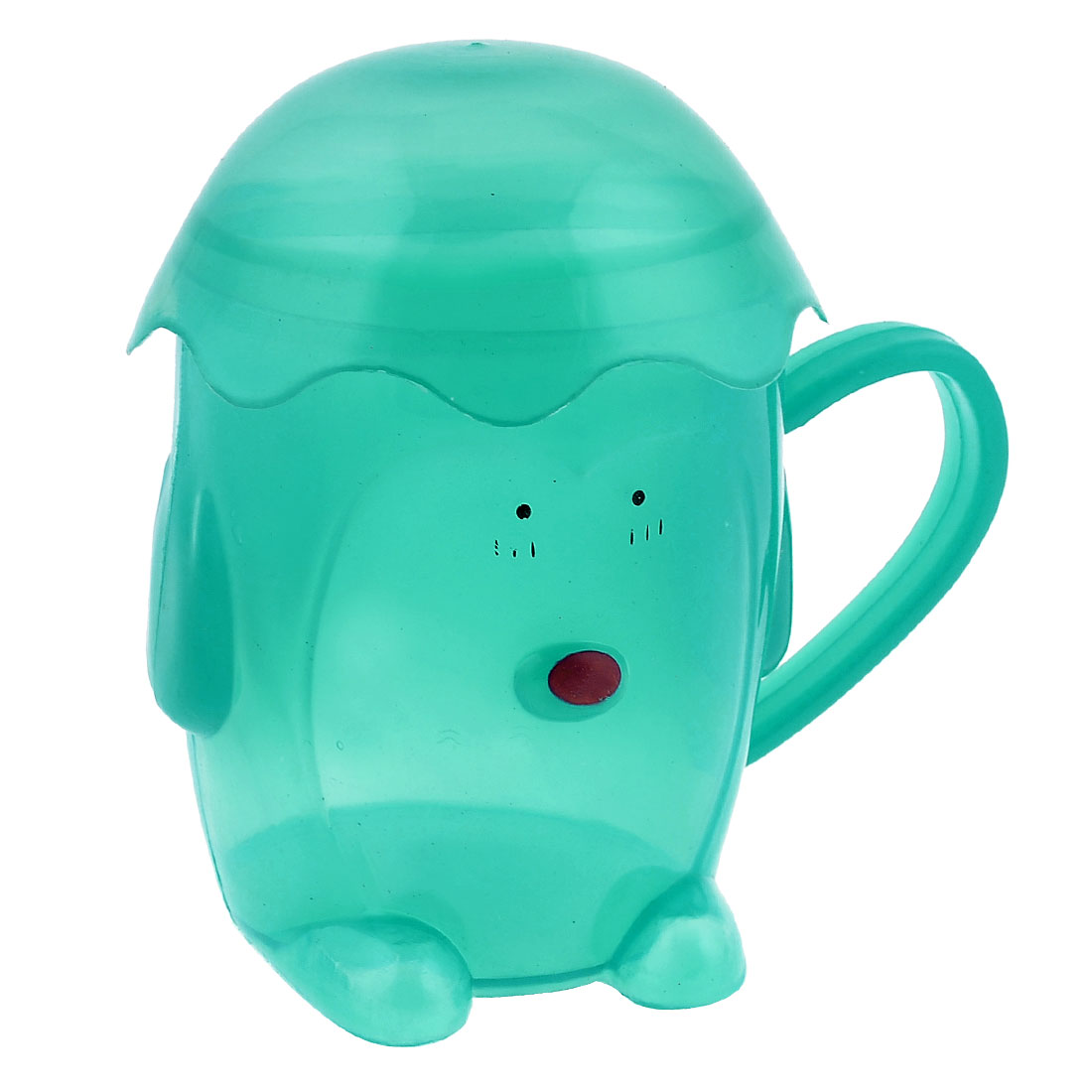 Drink Cartoon Doll Design Plastic Grip Cup Teal Green for Children