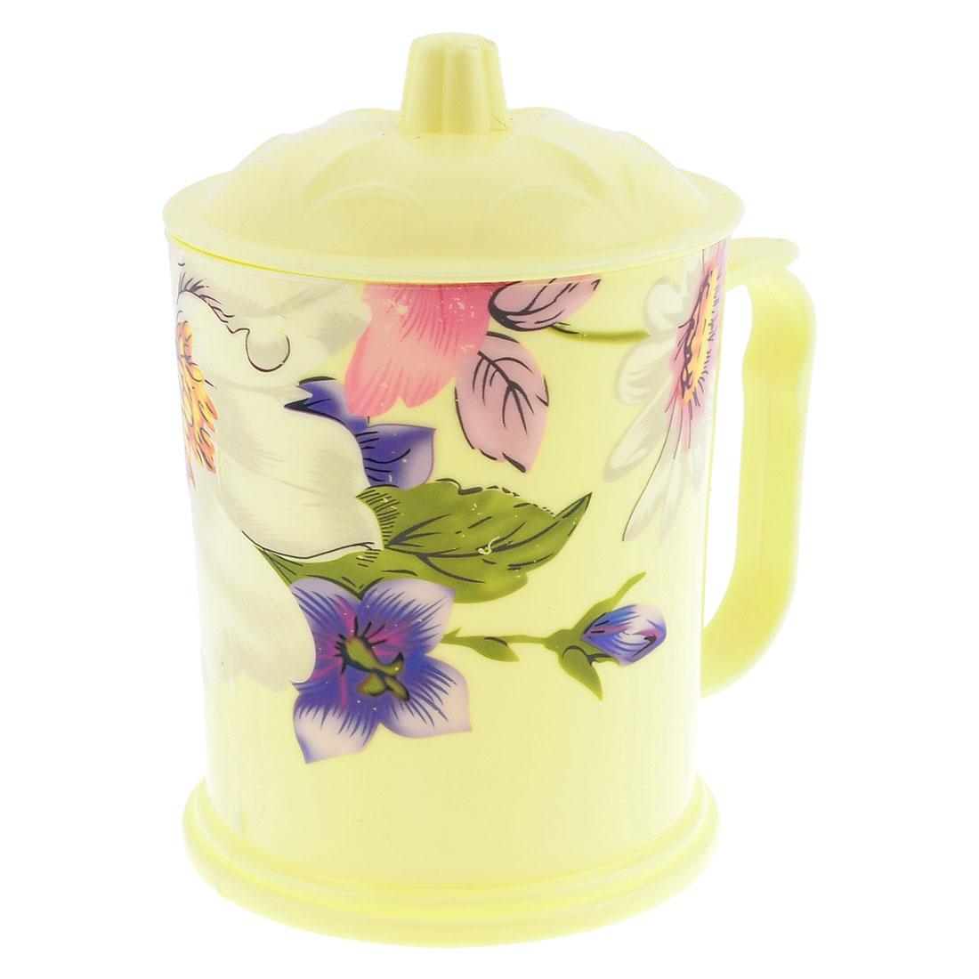 410ml Lotus Printed Plastic Handgrip Cylinder Shaped Water Cup Beige