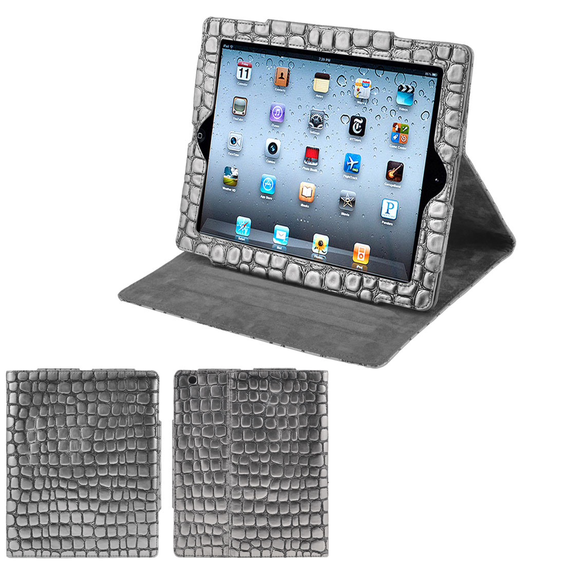 Gray Crocodile Pattern Faux Leather Tablet Stand Case Folio Cover for iPad 2