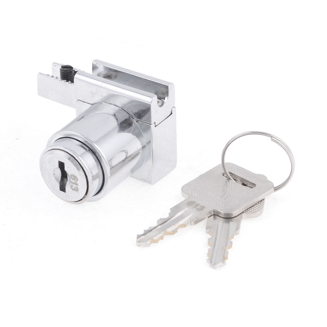 "0.2"" Showcase Glass Cabinet Single Swinging Door Lock Silver Tone"