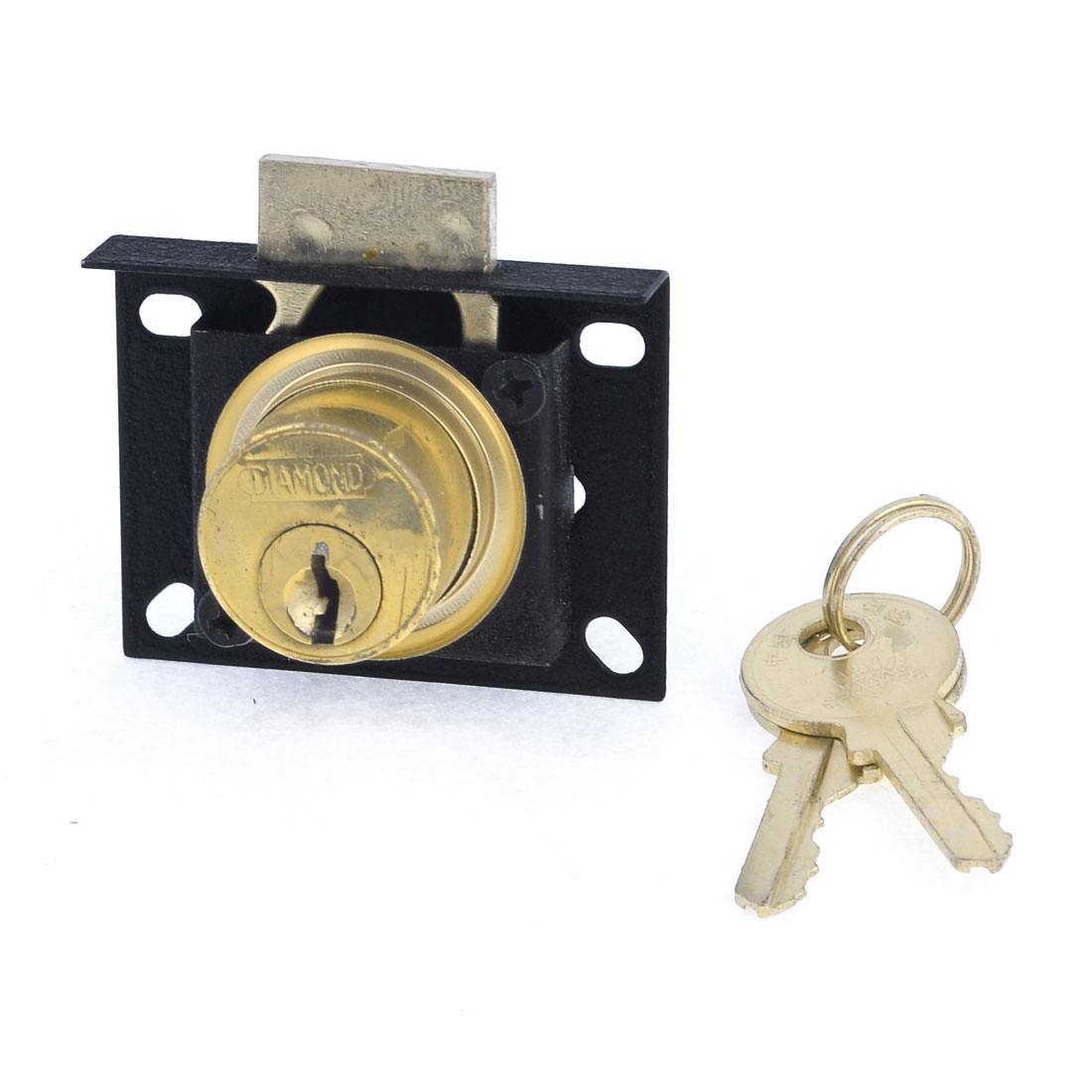 Cabinet Display Case Showcase Single Glass Door Lock Black Gold Tone